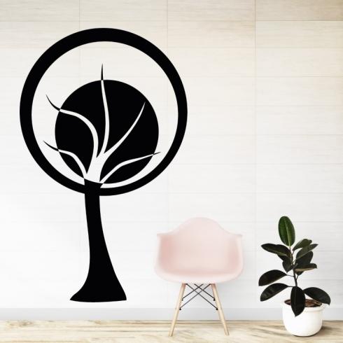 Abstraktní strom kruh - vinylová samolepka na zeď