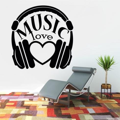 Music Love Láska k hudbě - vinylová samolepka na zeď