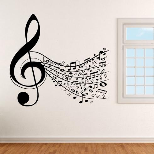 Noty všude kolem - vinylová samolepka na zeď