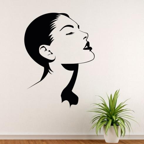 Dámský obličej silueta - vinylová samolepka na zeď