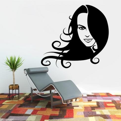 Dámský obličej silueta 2 - vinylová samolepka na zeď