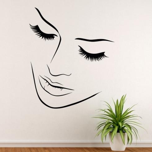 Dámský obličej silueta 3 - vinylová samolepka na zeď
