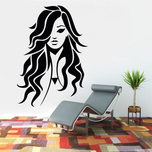Dámský obličej silueta 4 - vinylová samolepka na zeď