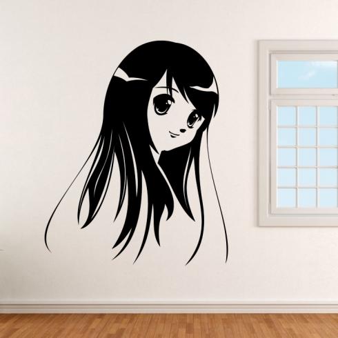 Portrét anime dívky - vinylová samolepka na zeď