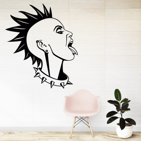 Punk silueta ženy - vinylová samolepka na zeď
