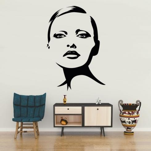 Dámský obličej silueta 5 - vinylová samolepka na zeď