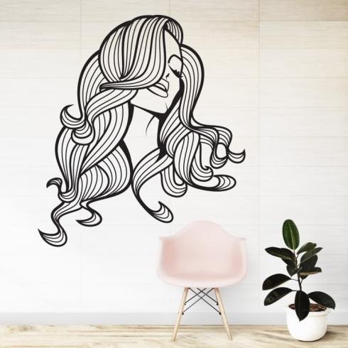 Dámský obličej silueta 6 - vinylová samolepka na zeď