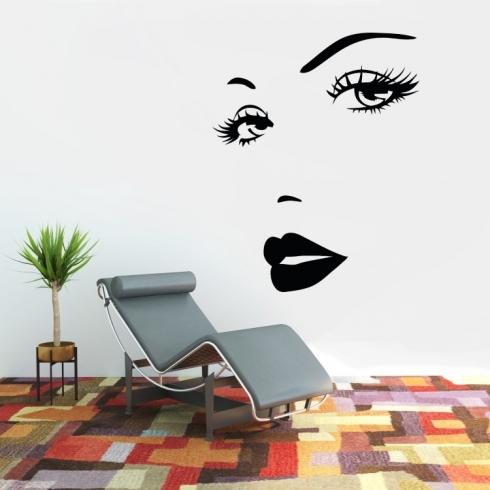 Dámský obličej silueta 7 - vinylová samolepka na zeď