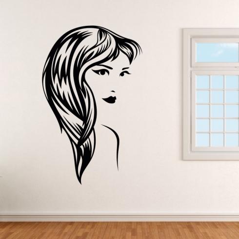 Dámský obličej silueta 8 - vinylová samolepka na zeď
