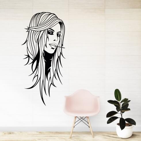 Dámský obličej silueta 9 - vinylová samolepka na zeď