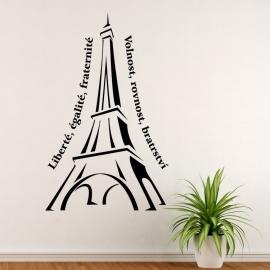 Eiffelova věž s nápisem - vinylová samolepka na zeď