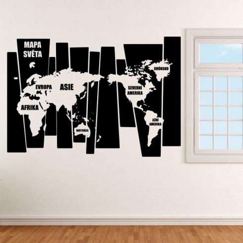 Mapa světa v pruzích - vinylová samolepka na zeď