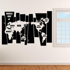 Mapa světa v pruzích anglicky - vinylová samolepka na zeď