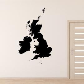 Velká Británie mapa - vinylová samolepka na zeď