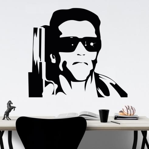 Arnold Schwarzenegger Terminátor - vinylová samolepka na zeď