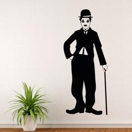 Charlie Chaplin silueta - vinylová samolepka na zeď