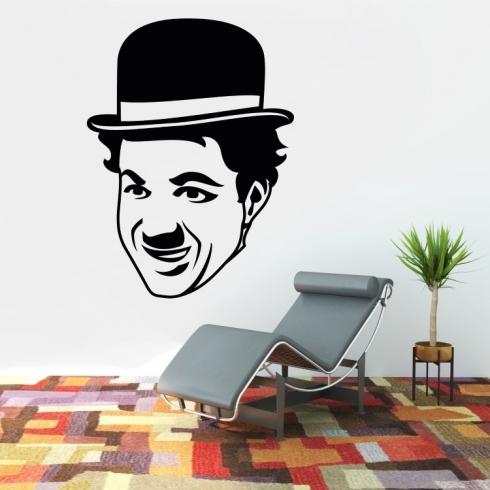 Charlie Chaplin obličej - vinylová samolepka na zeď