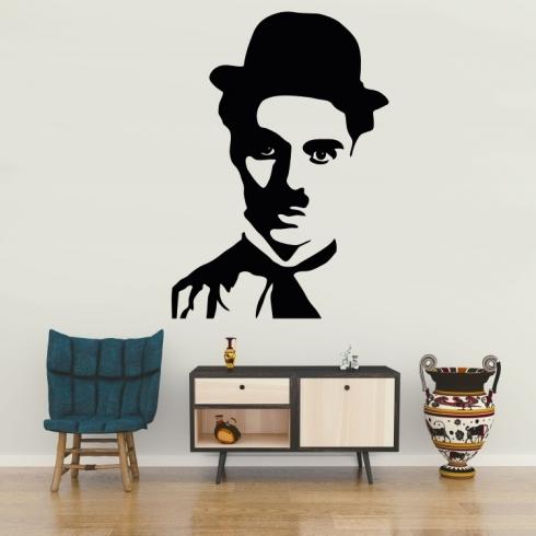 Charlie Chaplin portrét - vinylová samolepka na zeď