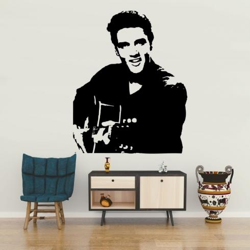 Elvis Presley s kytarou - vinylová samolepka na zeď