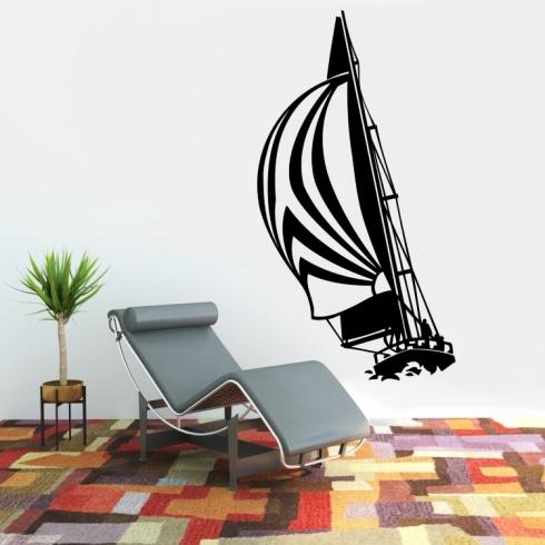 Plachetnice na vlnách - vinylová samolepka na zeď