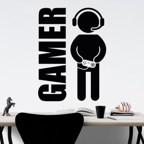 Gamer nebo vlastní text - vinylová samolepka na zeď