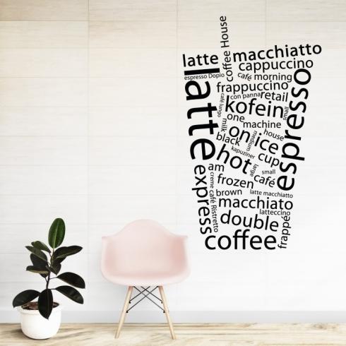 Káva text - vinylová samolepka na zeď