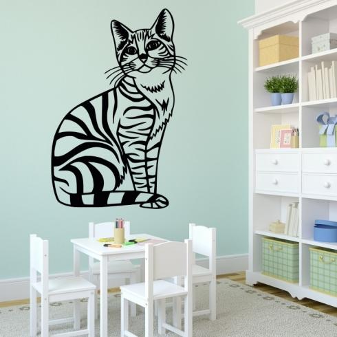 Kočka princezna - vinylová samolepka na zeď