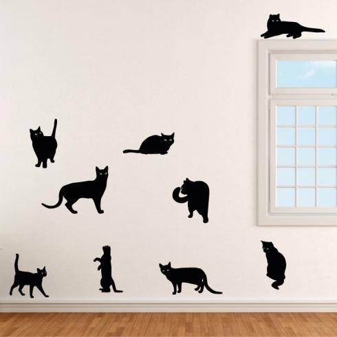 Sada devíti koček 21-39cm - vinylová samolepka na zeď
