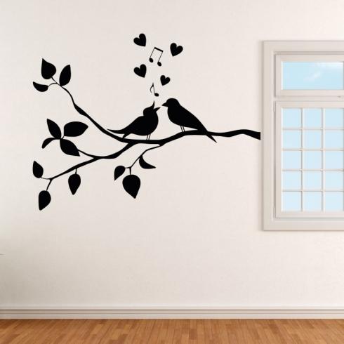 Ptačí láska na větvi - vinylová samolepka na zeď