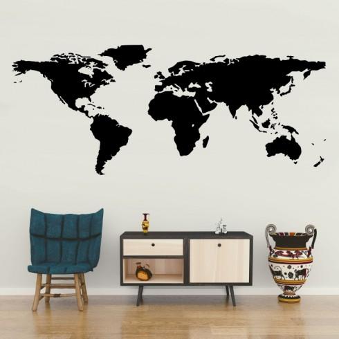Mapa světa - vinylová samolepka na zeď